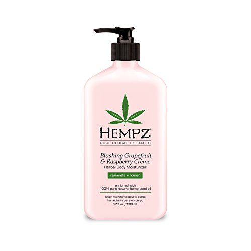 Hempz Herbal Body Moisturizer, Light Pink, Blushing Grapefruit/Raspberry Creme, 17 Fluid Ounce
