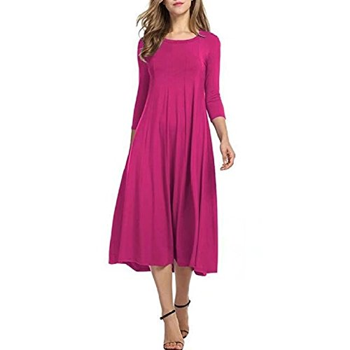 Bettergirl (tm) Womens Une Ligne Balançoire Robe Midi Évasé Manches 3/4 Simple Casual Robe Simple Rose