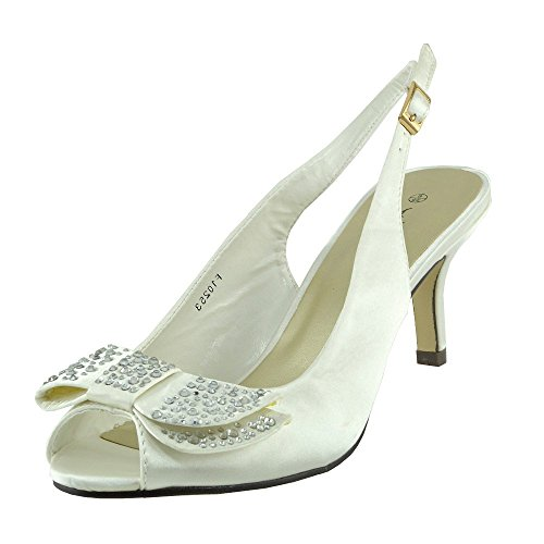 Womens Ladies low satin stiletto heel shoes Ivory LUzJ8