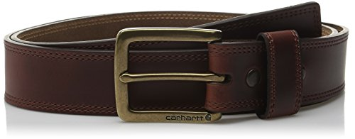 Carhartt Men's Double Row Stitching Snap Fasteners Brass Buckle, Brown, 44