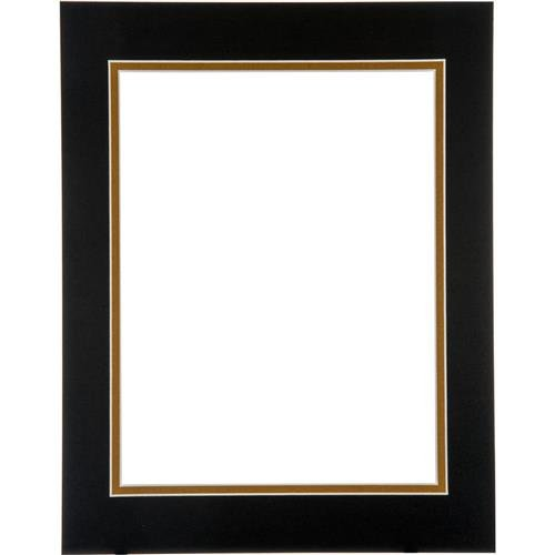 (Logan Palettes Collection Pre-Cut Mats 16 in. x 20 in. Double Rectangle Smooth Black/Olde Gold)