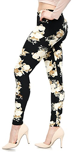 LMB Lush Moda Extra Soft Leggings With Designs- Variety Of Prints - 724F Floral On BlackB5 Pink Floral Leggings