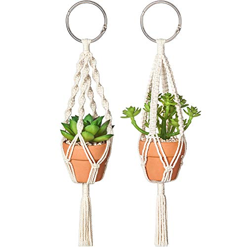 Dahey Mini Macrame Plant Car Hanging 2 Pcs Hanging Succulent for Car Decorations Handmade Rear View Mirrior Charm Boho…