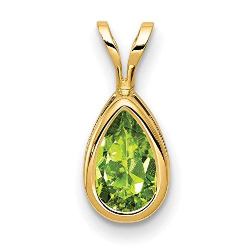 14k 8x5mm Pear Peridot bezel pendant, 14 kt Yellow Gold