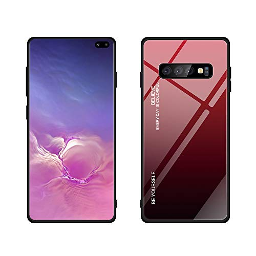 Galaxy S10 Plus case, Color Gradient Tempered Glass Case Toughened Glass + TPU Framework Anti-Scratch Anti-Dropping Anti-Fingerprint Shock Absorption Protective cover for Samsung Galaxy S10 Plus (Red) (Toughened Glass)