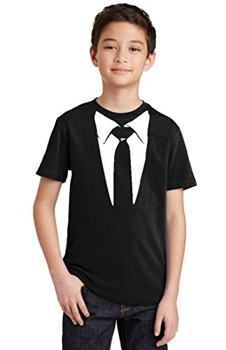 - Promotion & Beyond Tie and Suit White Tuxedo Funny Youth T-Shirt, Youth XS, Black