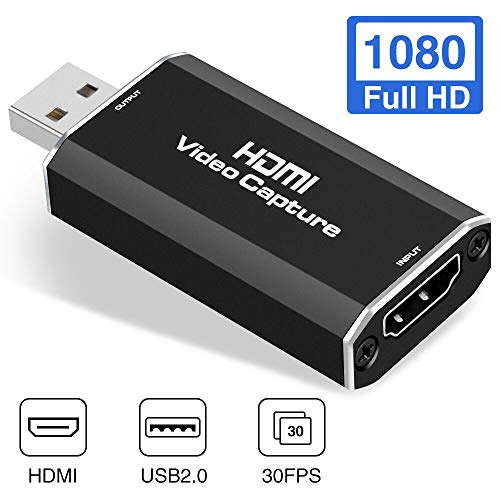 GOODAN Audio Video Capture Cards HDMI to USB 1080p USB2.0 Record via DSLR Camcorder Action Cam for High Definition Acquisition, Live Broadcasting (Black)