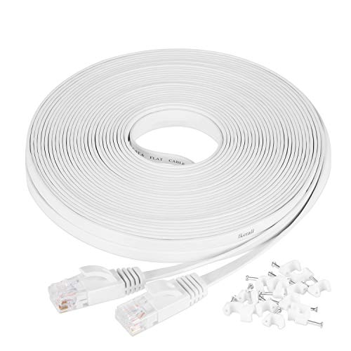 Cat6 Ethernet Cable 50 Ft White With Free White Cable Clips