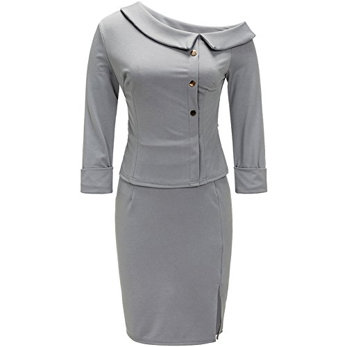 Bodycon4U Womens Business Dress 2 Piece Suit 3/4 Sleeve Doll Collar Peplum Top Bodycon Skirt Gray L