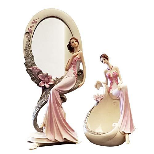 ZJHJH Random delivery!Creative Resin Beauty Figurine Jewelry Storage Box Lady Makeup Mirror Ornament Dressing Table Decor Wedding Gift ()
