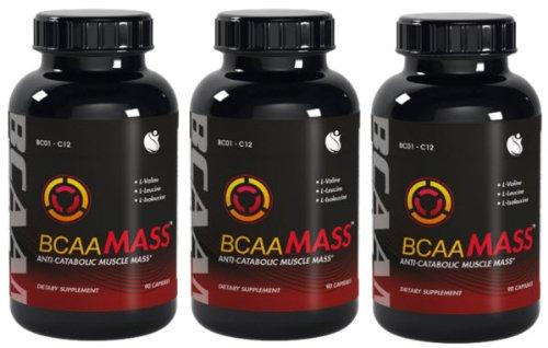 BCAA Mass aminés à chaîne ramifiée acides L-leucine L-isoleucine L-valine BCAA Ratio 04:01:01 270 Capsules 3 bouteilles