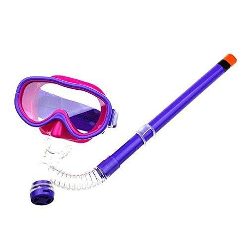 Kids Silicone Scuba Swimming Swim Diving Mask Snorkel Glasses Set Anti Fog Goggles (Violet)