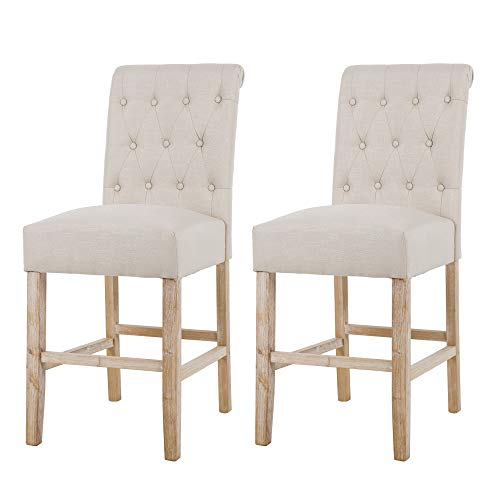 NOBPEINT Fabric Upholstered Barstool Dining Chair Solid Wood Legs 24 inch, Tan(Set of 2)
