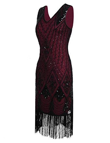 Art Gatsby Paillettes Flapper Deco Borgogna Donne PrettyGuide Cocktail Vestito 1920s FAXHa1a