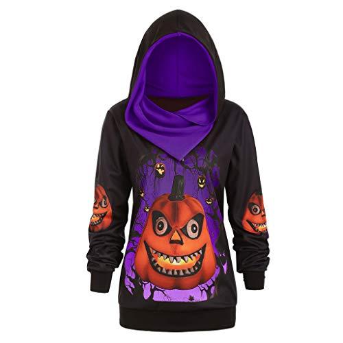Toimothcn Women Halloween Plus Size 3D Cat Printed Hoodie Sweater Pullover Tops Long Sleeve Hooded Sweatshirts(Purple,L)