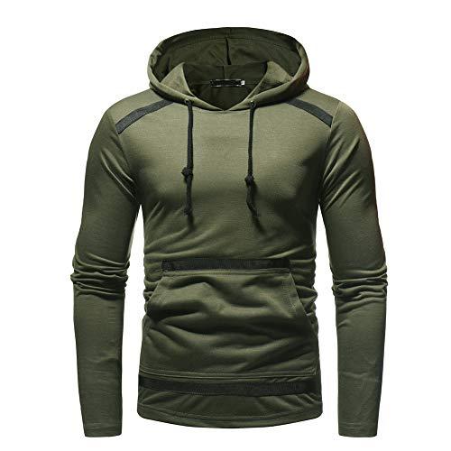 Hooded Sweatshirt Outwear Tops Men ZYAP Autum Winter Long Sleeve Pocket(Army Green,3XL) from ZYAP Mens Tops