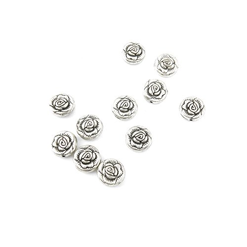 90 Pieces Jewelry Making Charms TVXW06 Rose Loose Beads Pendant Ancient Silver Findings Craft Supplies Bulk Lots (Pendant Bead Rose)