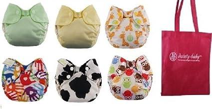 Swaddlebees Recién Nacido Simplex Pack de 6 Pañales de tela GÉNERO ...