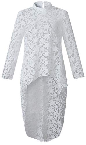 Long Sleeve Floral Lace Crochet Hollow Out High Low Hem Irregular Hem Fishtail Blouse Shirt Swing Trapeze Maternity Top White L