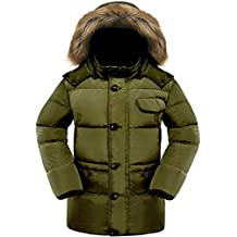 Valuker Men's Down Coat With Fur Hood 90% Down Parka Puffer Jacket