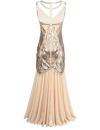 PrettyGuide Mujeres 1920s Flapper Lentejuela Art Deco Vestido formal de cóctel largo Champán