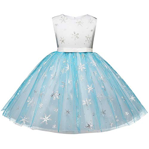Girls Elegant Snowflake Princess Bling Tutu Dress, Christmas School Dance Gown Wear Party Dress, Children Sleeveless Dresses