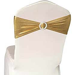 50PCS Spandex Chair Sashes Bows Elastic Chair Bands With Buckle Slider Sashes Bows For Wedding Decorations (Gold)