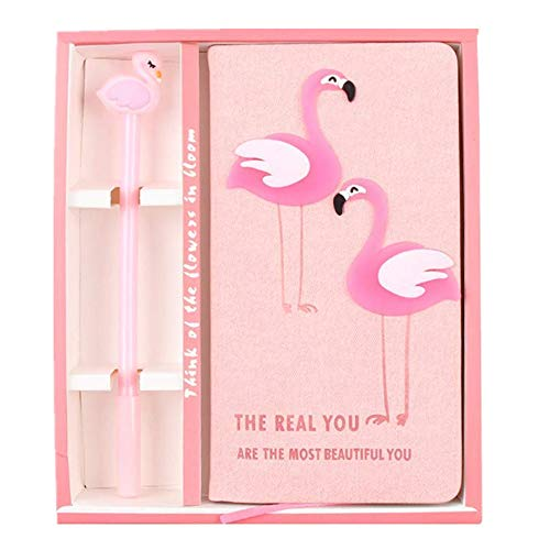 XXMANX Cute Flamingo Stationery Diary Notebook and Pen, Journal Set, Gifts for Girls.