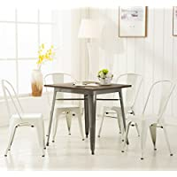 Modern Vintage White Metal Stackable Dining Chic Bistro Cafe Side Chair with Backs (Set of 4) Tolix Kitchen Chair