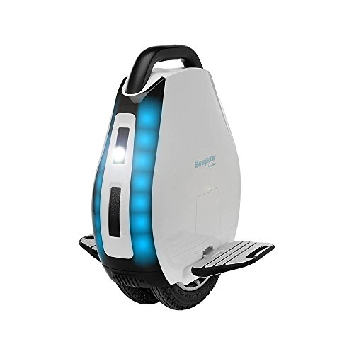SWAGTRON SwagRoller Electric Unicycle: Multi-Terrain Dual Air-Filled Tires; Retractable Handle; App & Bluetooth Speaker