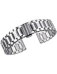 18mm High-end Oyster Style 316L Stainless Steel Watch Bands Replacements with Both Curved and Straight Ends