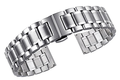 - 22mm Men's Premium Oyster Style Metal Watch Bands with Both Curved and Straight Ends Heavy Type 316L Stainless Steel