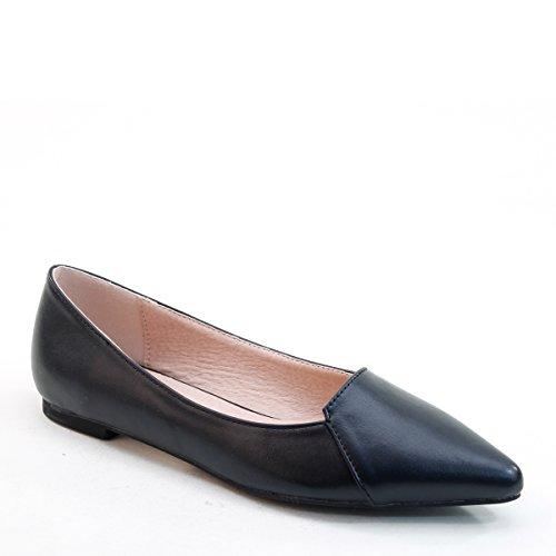 Tout Nouveau Brieten Womens Bout Pointu Confort Chaussures Plates Noir