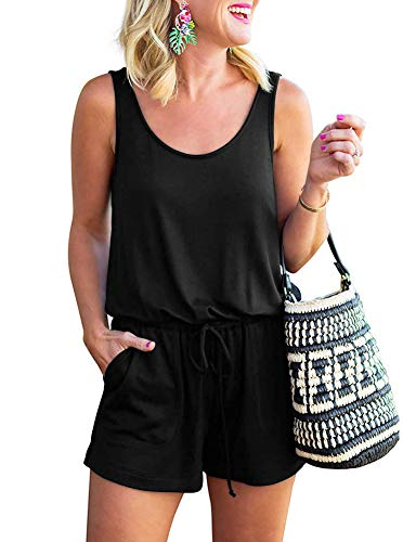 Q-daily Womens Summer Loose Solid Sleeveless Scoop Neck Casual One Piece Tank Top Short Jumpsuit Romper Playsuits with Pockets Black Small