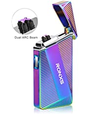 RONXS Electric Lighter, Double Arc Lighter USB Lighter Flameless Cigarette Lighter, USB Rechargeable, Windproof with Gift Box