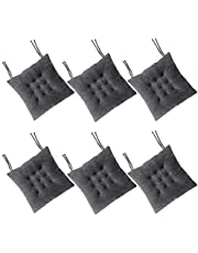 RULLENY Set of 6 Chair Pads and Seat Cushions with Ties Non Slip Comfortable and Soft for Indoor, Dining Living Room, Kitchen, Office Chair, Den, Travel, Washable (Dark Grey, 6)