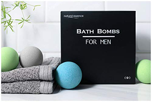 Men's Bath Bomb Set of 9 by Natural Essence, Relaxing Bath Bombs for Men