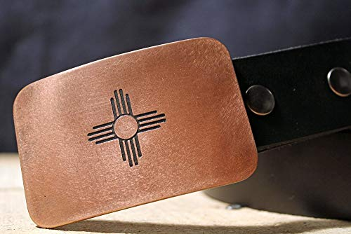 New Mexico Flag ZIA SUN SYMBOL Etched Metal Belt Buckle