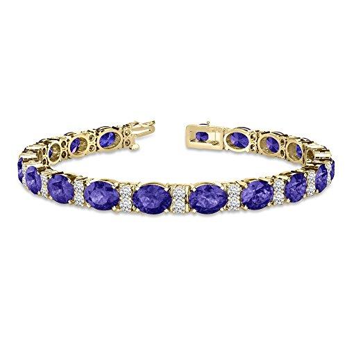Diamond and Oval Cut Tanzanite Tennis Bracelet 14k Yellow Gold (13.62ct) (Bracelet Tanzanite 14k Gold Yellow)