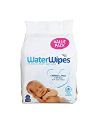 WaterWipes Sensitive Baby Wipes, Natural & Chemical-Free, 4 packs of 60 Count (240 Wipes)