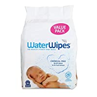 WaterWipes Sensitive Baby Wipes, Natural & Chemical-Free, 4 packs of 60 Count...