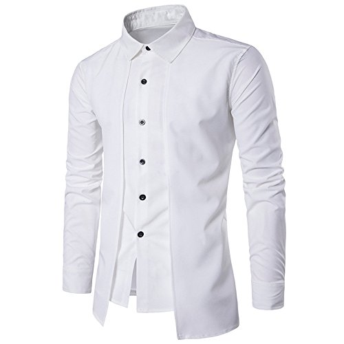 iYBUIA Luxury Men Casual Pure Shirt Long Sleeve Formal Business Slim Dress Shirt T Shirt Top(White ,XL) -