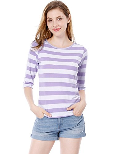 (Allegra K Women's 1/2 Sleeves Contrast Color Stripes T-Shirt S Light Purple White)