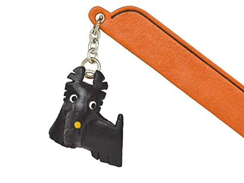Scottish terrier Leather dog Charm Bookmarker VANCA Handmade in Japan