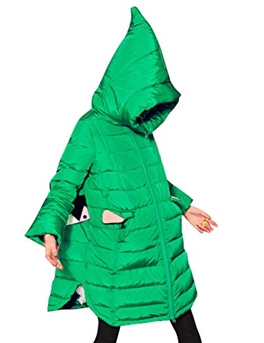 Womens Jacket Down Winter Coat Sack Hooded Long Warm Green Elf 70np56xqY