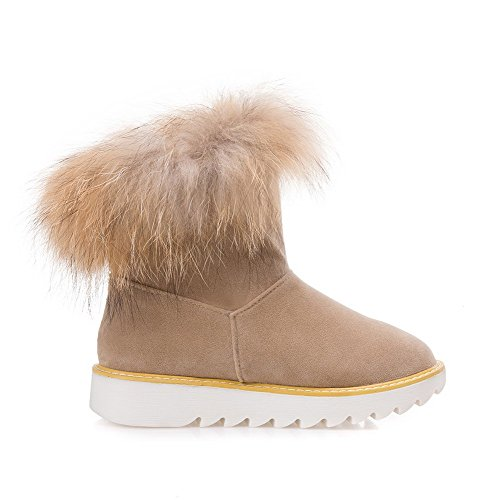 Toe Closed Boots Snow top Heels Low Low Round Beige Women's Solid WeiPoot Frosted RSx4InxF