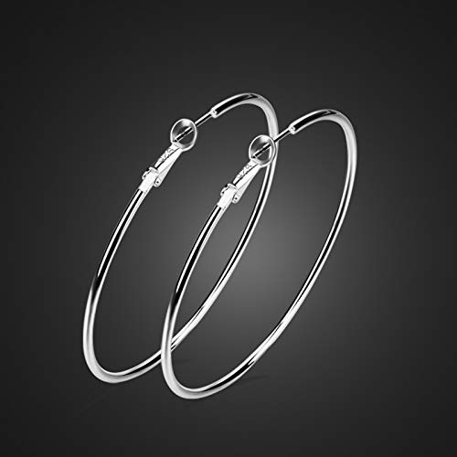 (100% Real Fashion Silver Earrings.Contracted Solid 925 Silver Earrings Woman.Charming Lady Earrings.Wholesale Fashion Jewelry (Diameter 26mm))