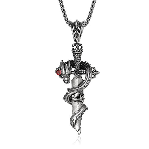 Kamyifook 925 Sterling Silver Dragon Sword Pendants with Sterling Silver