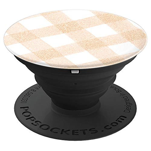 Peach and White Buffalo Plaid Gingham Check - PopSockets Grip and Stand for Phones and Tablets