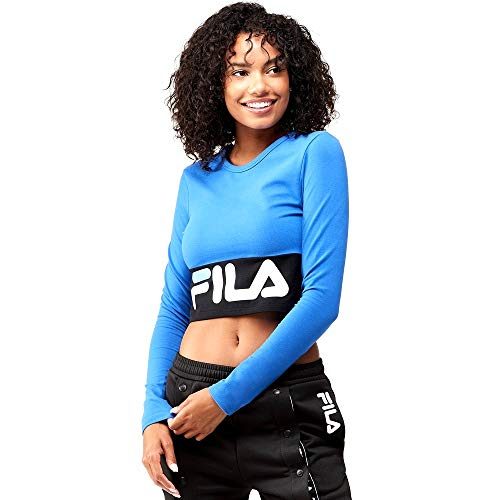 Fila Women's Maria Crop Long Sleeve T-Shirt (Blue/Black, Small)